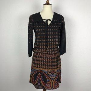 Akiko Print Tie Neck Mini Dress D512